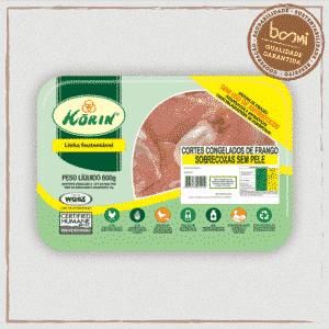 Sobrecoxa de Frango Sem Pele Sustentável Sem Antibiótico Korin 600g