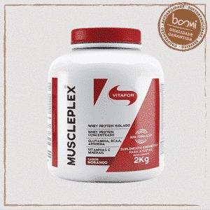 Muscle Plex Whey Glutamina BCAA Arginina Morango Vitafor 2000g