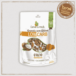 Granola Coco e Damasco Low Carb Sem Glúten Leve Crock 200g